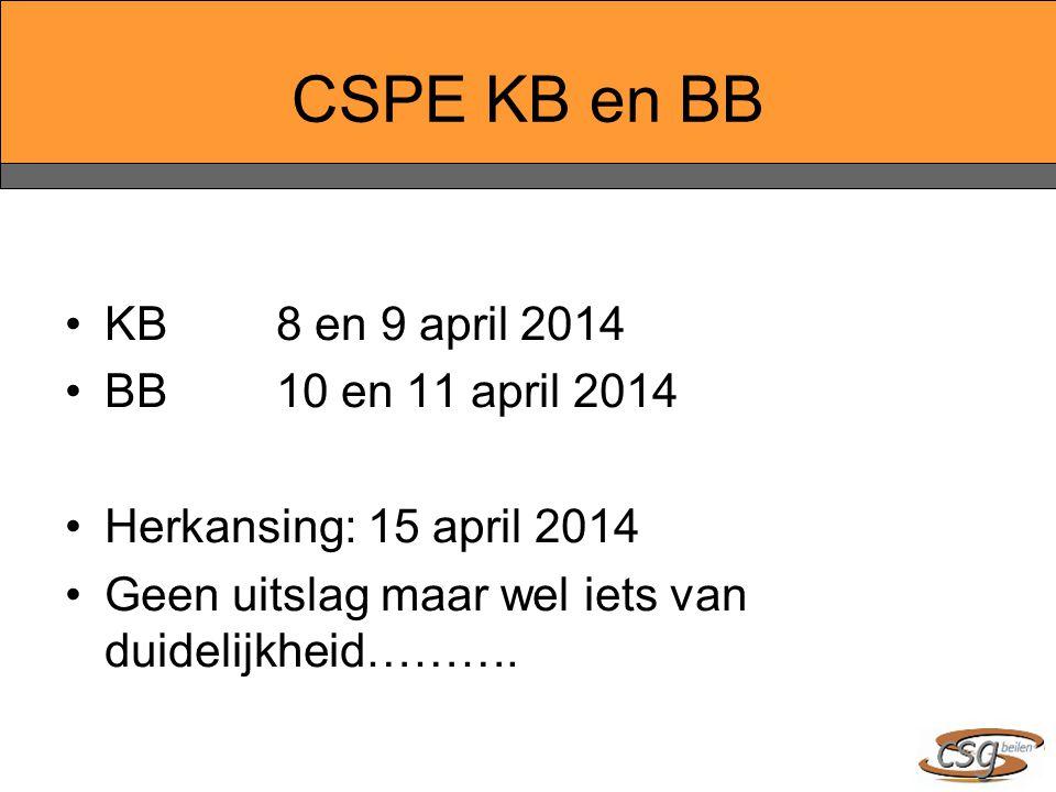 CSPE KB en BB KB8 en 9 april 2014 BB10 en 11 april 2014 Herkansing: 15 april 2014 Geen uitslag maar wel iets van duidelijkheid……….