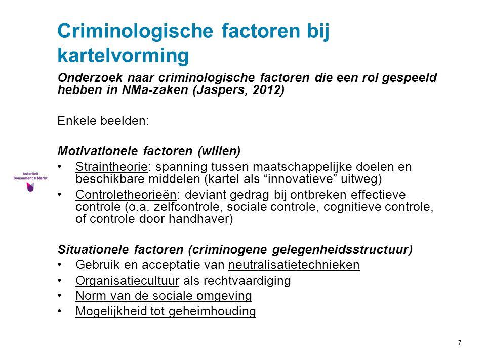 7 Criminologische factoren bij kartelvorming Onderzoek naar criminologische factoren die een rol gespeeld hebben in NMa-zaken (Jaspers, 2012) Enkele b