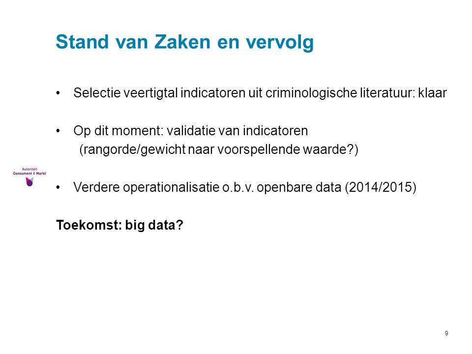 9 Stand van Zaken en vervolg Selectie veertigtal indicatoren uit criminologische literatuur: klaar Op dit moment: validatie van indicatoren (rangorde/