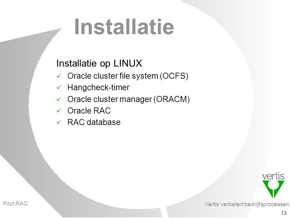 Vertis verbetert bedrijfsprocessen 13 Installatie Installatie op LINUX Oracle cluster file system (OCFS) Hangcheck-timer Oracle cluster manager (ORACM) Oracle RAC RAC database Pilot RAC
