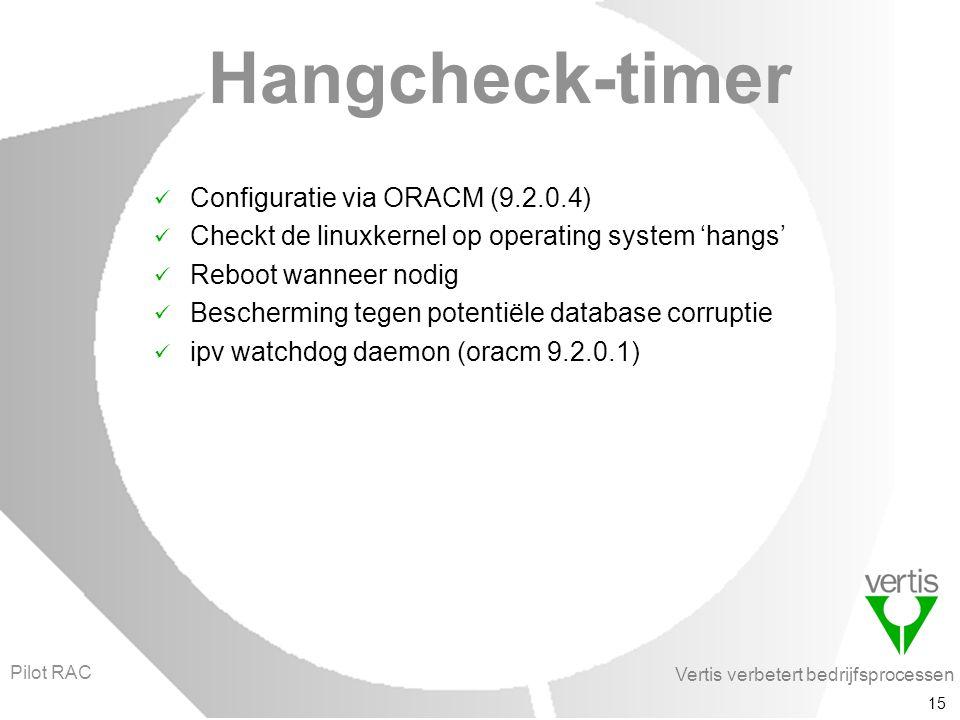 Vertis verbetert bedrijfsprocessen 15 Hangcheck-timer Configuratie via ORACM (9.2.0.4) Checkt de linuxkernel op operating system 'hangs' Reboot wanneer nodig Bescherming tegen potentiële database corruptie ipv watchdog daemon (oracm 9.2.0.1) Pilot RAC