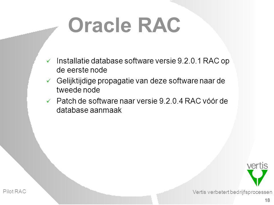 Vertis verbetert bedrijfsprocessen 18 Oracle RAC Installatie database software versie 9.2.0.1 RAC op de eerste node Gelijktijdige propagatie van deze software naar de tweede node Patch de software naar versie 9.2.0.4 RAC vóór de database aanmaak Pilot RAC