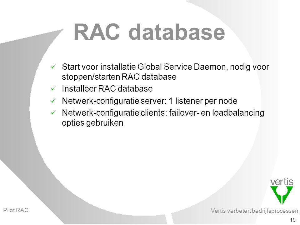 Vertis verbetert bedrijfsprocessen 19 RAC database Start voor installatie Global Service Daemon, nodig voor stoppen/starten RAC database Installeer RAC database Netwerk-configuratie server: 1 listener per node Netwerk-configuratie clients: failover- en loadbalancing opties gebruiken Pilot RAC