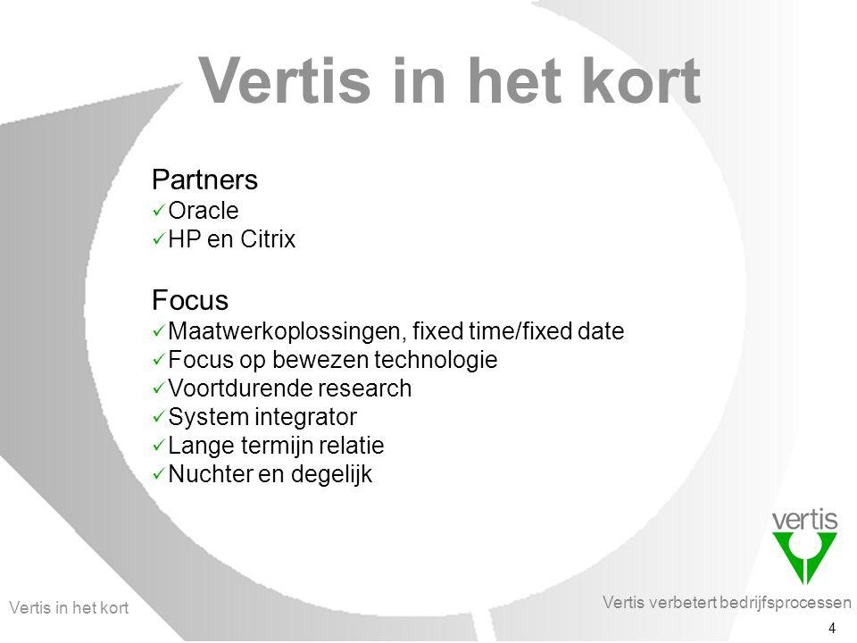 Vertis verbetert bedrijfsprocessen 4 Vertis in het kort Partners Oracle HP en Citrix Focus Maatwerkoplossingen, fixed time/fixed date Focus op bewezen technologie Voortdurende research System integrator Lange termijn relatie Nuchter en degelijk Vertis in het kort