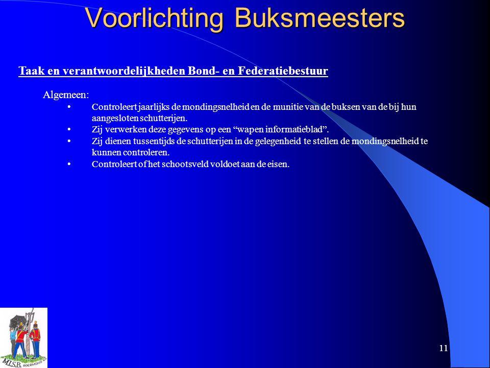11 Voorlichting Buksmeesters Taak en verantwoordelijkheden Bond- en Federatiebestuur Algemeen: Controleert jaarlijks de mondingsnelheid en de munitie