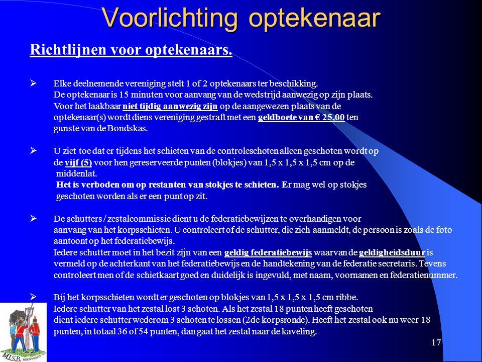 17 Voorlichting optekenaar Richtlijnen voor optekenaars.  Elke deelnemende vereniging stelt 1 of 2 optekenaars ter beschikking. De optekenaar is 15 m