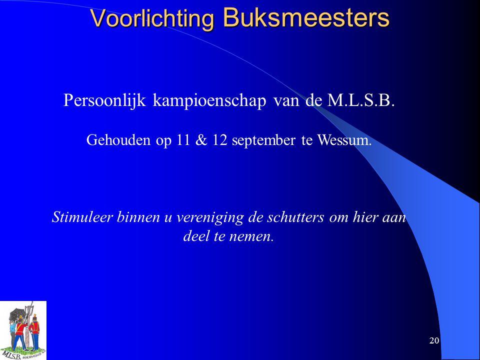 20 Voorlichting Buksmeesters Persoonlijk kampioenschap van de M.L.S.B. Gehouden op 11 & 12 september te Wessum. Stimuleer binnen u vereniging de schut