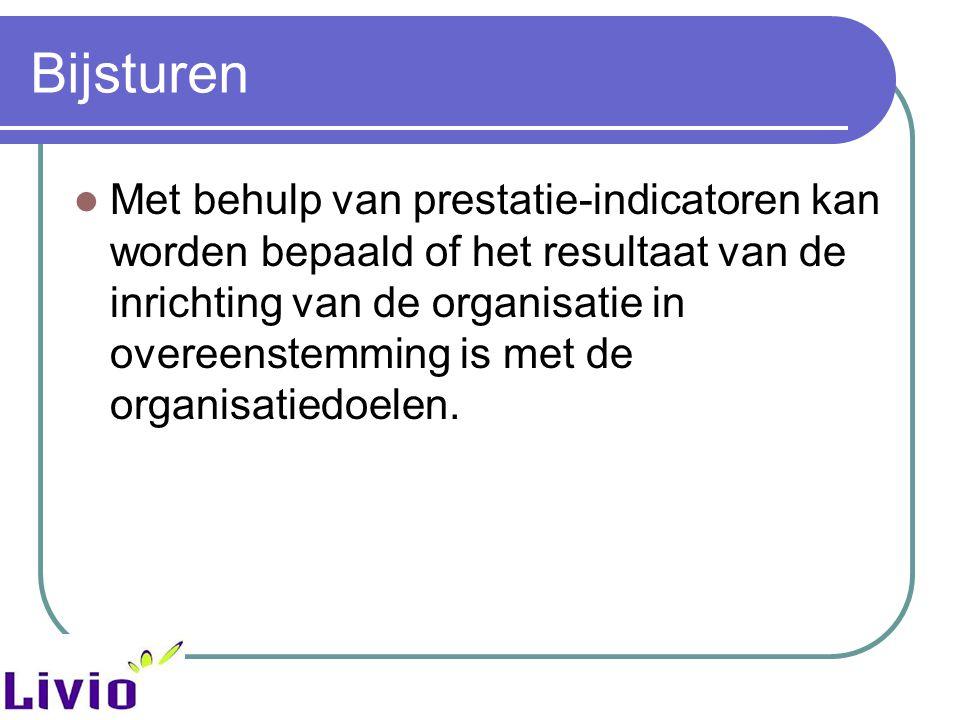 Bijsturen Met behulp van prestatie-indicatoren kan worden bepaald of het resultaat van de inrichting van de organisatie in overeenstemming is met de o
