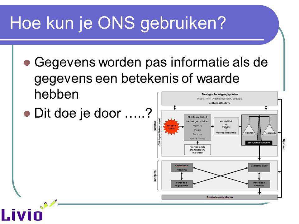 Hoe kun je ONS gebruiken? Gegevens worden pas informatie als de gegevens een betekenis of waarde hebben Dit doe je door …..?
