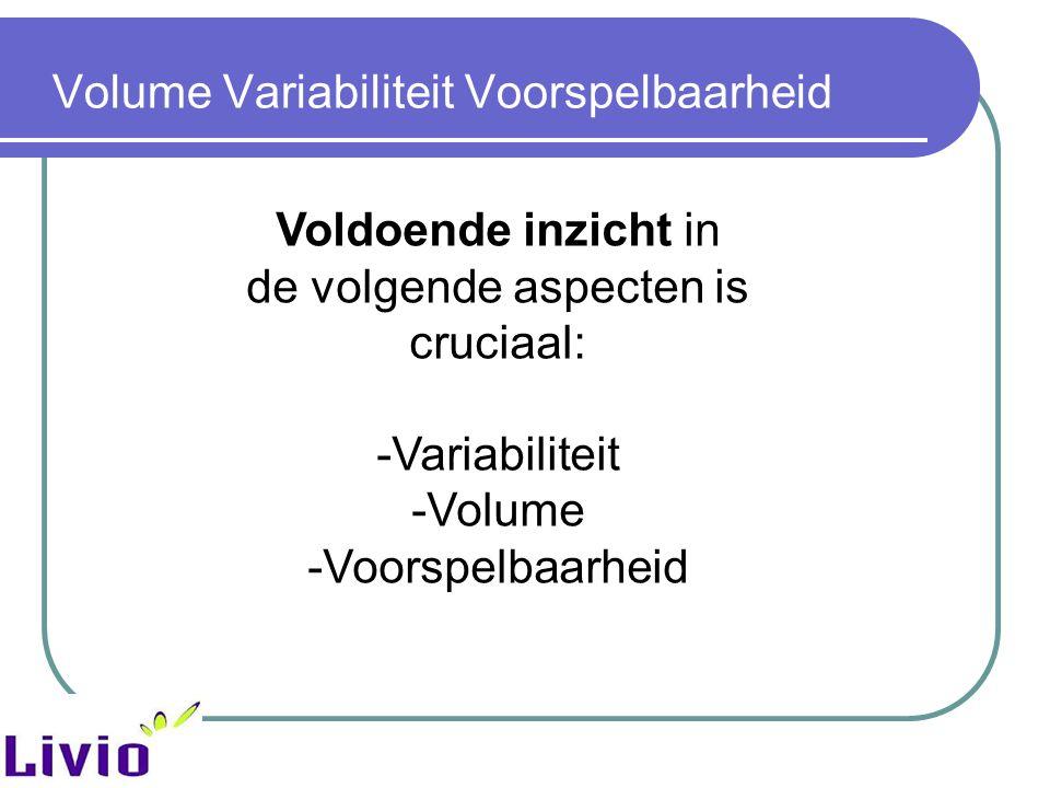 Volume Variabiliteit Voorspelbaarheid Voldoende inzicht in de volgende aspecten is cruciaal: -Variabiliteit -Volume -Voorspelbaarheid
