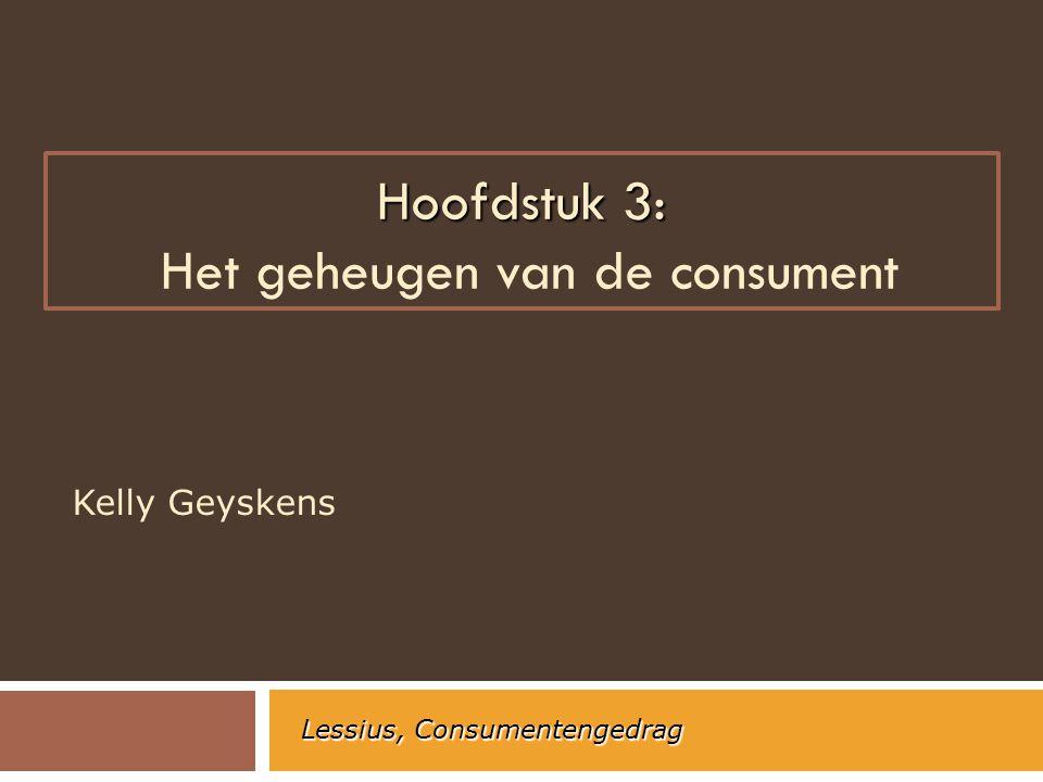Hoofdstuk 3: Hoofdstuk 3: Het geheugen van de consument Kelly Geyskens Lessius, Consumentengedrag