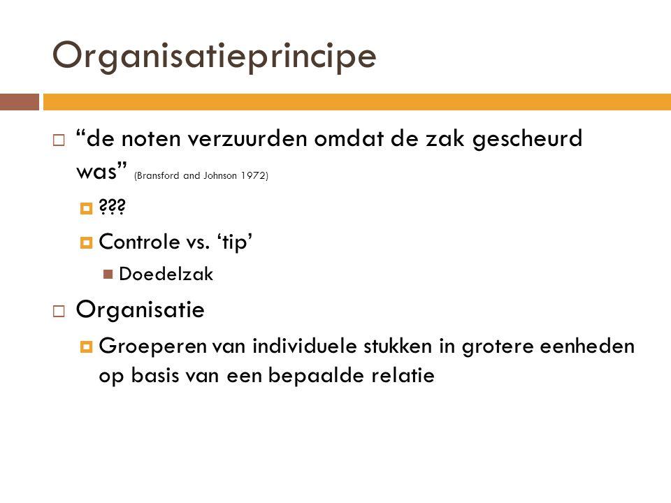 """Organisatieprincipe  """"de noten verzuurden omdat de zak gescheurd was"""" (Bransford and Johnson 1972)  ???  Controle vs. 'tip' Doedelzak  Organisatie"""