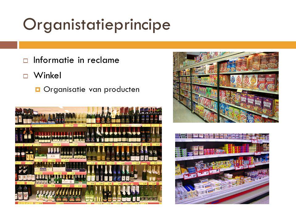 Organistatieprincipe  Informatie in reclame  Winkel  Organisatie van producten