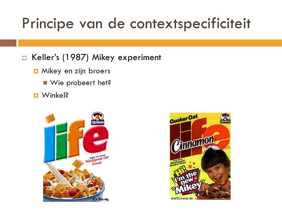 Principe van de contextspecificiteit  Keller's (1987) Mikey experiment  Mikey en zijn broers Wie probeert het?  Winkel?