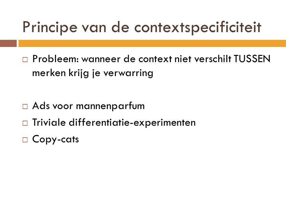  Probleem: wanneer de context niet verschilt TUSSEN merken krijg je verwarring  Ads voor mannenparfum  Triviale differentiatie-experimenten  Copy-