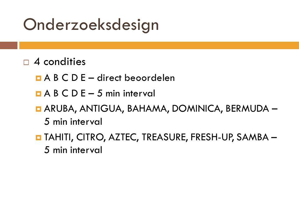 Onderzoeksdesign  4 condities  A B C D E – direct beoordelen  A B C D E – 5 min interval  ARUBA, ANTIGUA, BAHAMA, DOMINICA, BERMUDA – 5 min interv