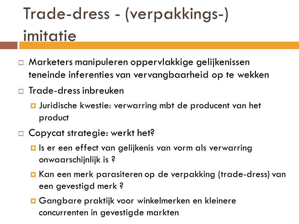 Trade-dress - (verpakkings-) imitatie  Marketers manipuleren oppervlakkige gelijkenissen teneinde inferenties van vervangbaarheid op te wekken  Trad