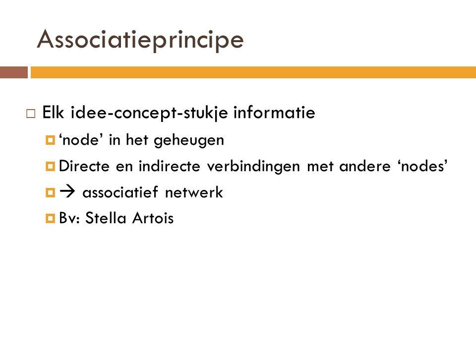Associatieprincipe  Elk idee-concept-stukje informatie  'node' in het geheugen  Directe en indirecte verbindingen met andere 'nodes'   associatie
