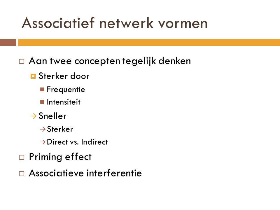 Associatief netwerk vormen  Aan twee concepten tegelijk denken  Sterker door Frequentie Intensiteit  Sneller  Sterker  Direct vs. Indirect  Prim