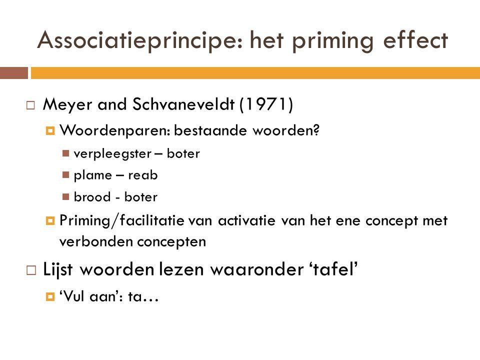 Associatieprincipe: het priming effect  Meyer and Schvaneveldt (1971)  Woordenparen: bestaande woorden? verpleegster – boter plame – reab brood - bo