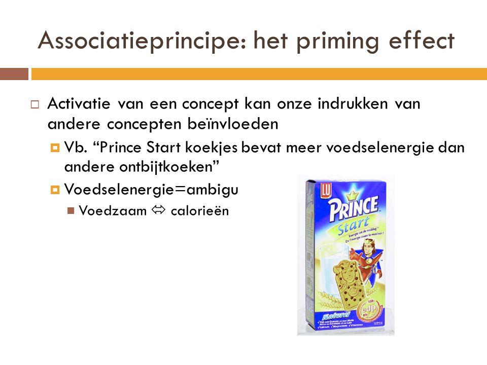 """Associatieprincipe: het priming effect  Activatie van een concept kan onze indrukken van andere concepten beïnvloeden  Vb. """"Prince Start koekjes bev"""