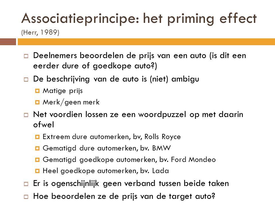 Associatieprincipe: het priming effect (Herr, 1989)  Deelnemers beoordelen de prijs van een auto (is dit een eerder dure of goedkope auto?)  De besc