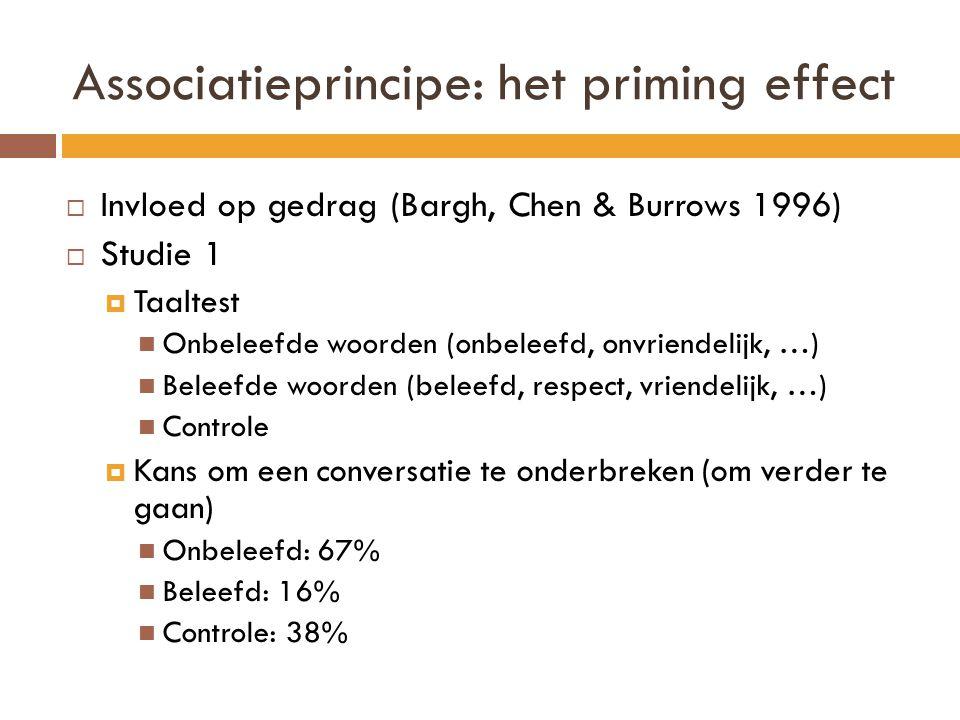 Associatieprincipe: het priming effect  Invloed op gedrag (Bargh, Chen & Burrows 1996)  Studie 1  Taaltest Onbeleefde woorden (onbeleefd, onvriende