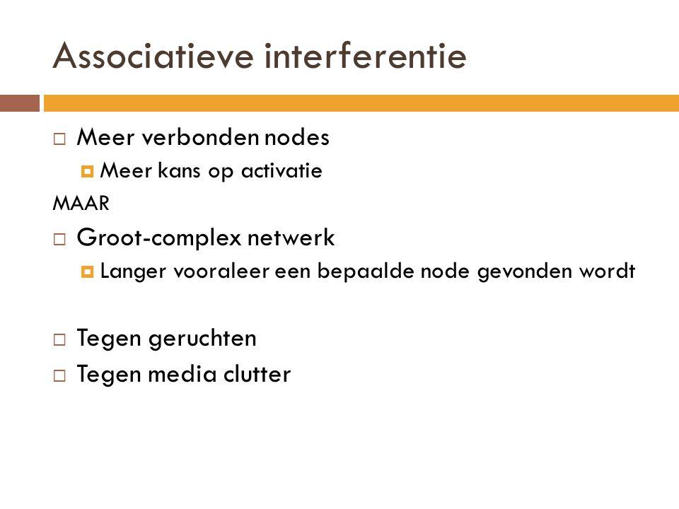 Associatieve interferentie  Meer verbonden nodes  Meer kans op activatie MAAR  Groot-complex netwerk  Langer vooraleer een bepaalde node gevonden
