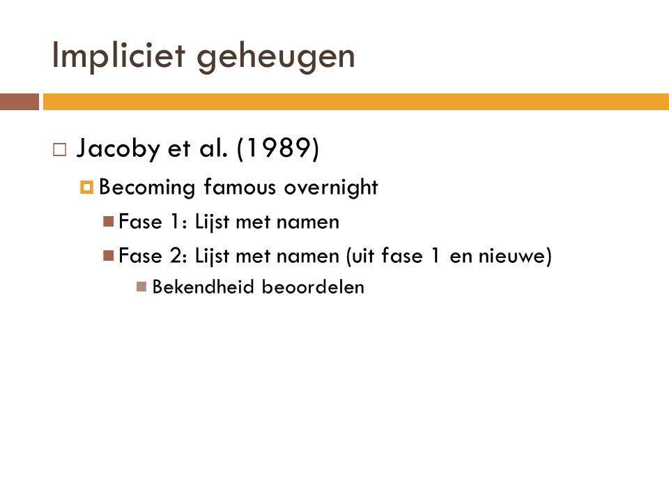  Jacoby et al. (1989)  Becoming famous overnight Fase 1: Lijst met namen Fase 2: Lijst met namen (uit fase 1 en nieuwe) Bekendheid beoordelen