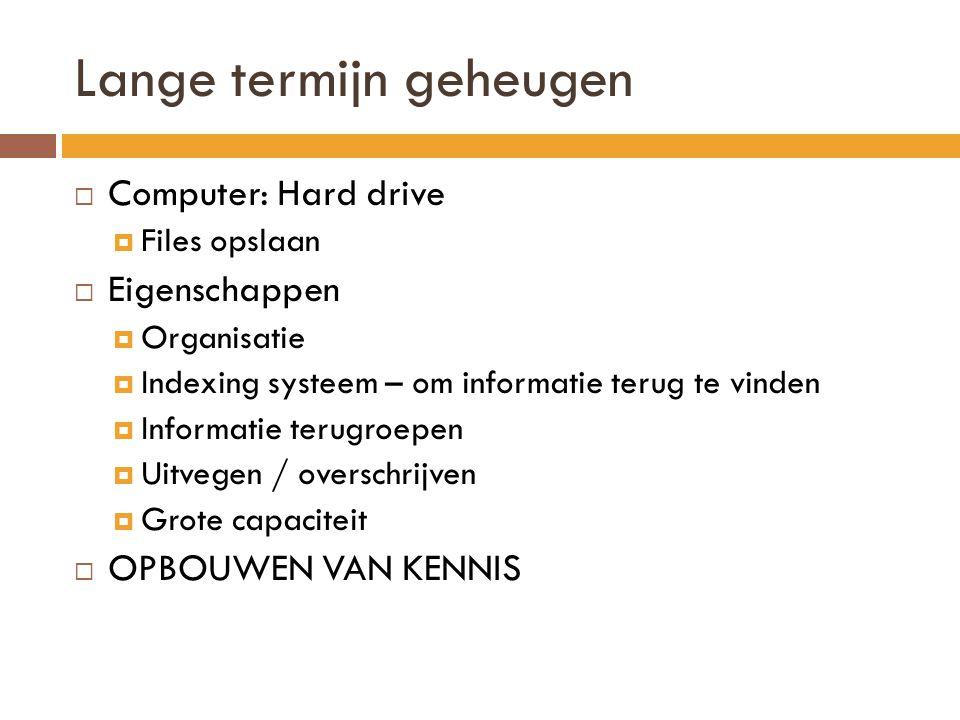 Lange termijn geheugen  Computer: Hard drive  Files opslaan  Eigenschappen  Organisatie  Indexing systeem – om informatie terug te vinden  Infor