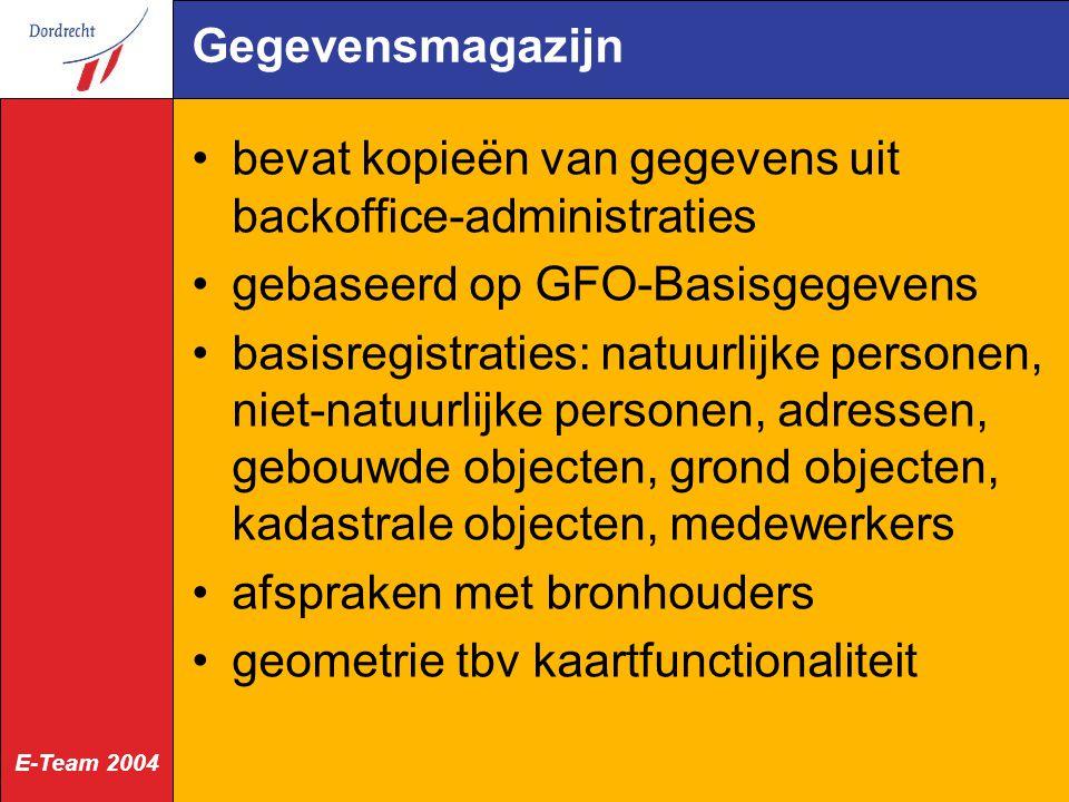 E-Team 2004 Gegevensmagazijn bevat kopieën van gegevens uit backoffice-administraties gebaseerd op GFO-Basisgegevens basisregistraties: natuurlijke pe