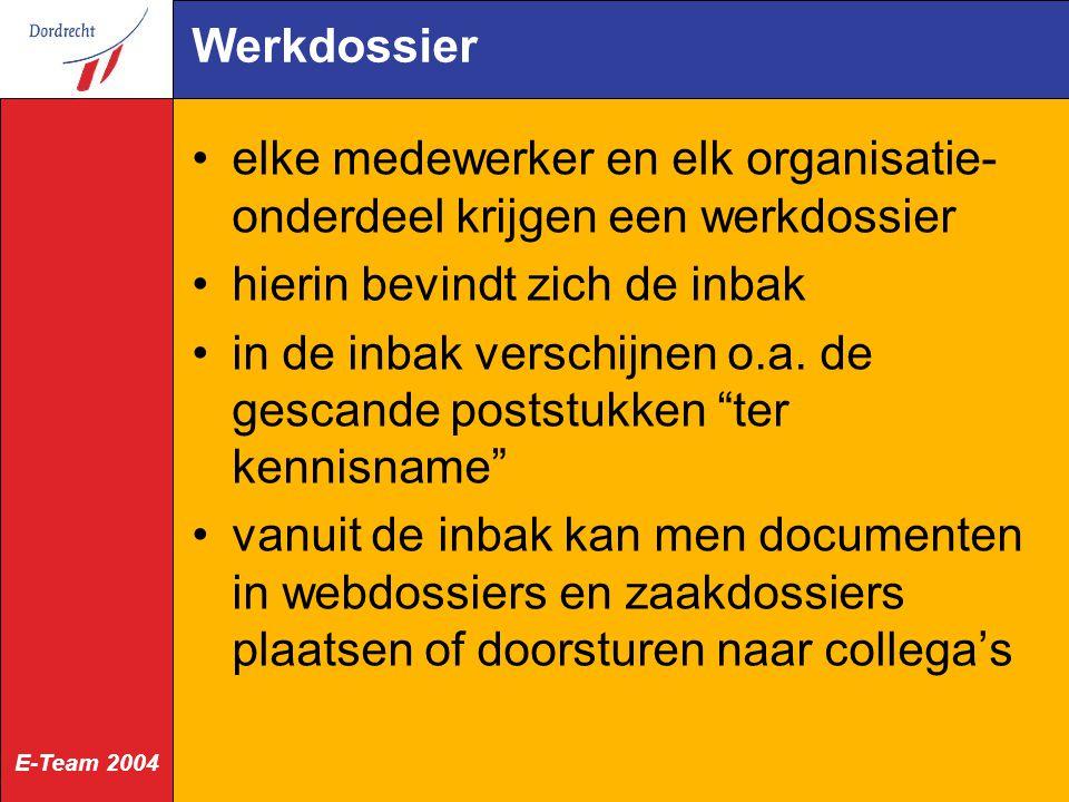 E-Team 2004 Werkdossier elke medewerker en elk organisatie- onderdeel krijgen een werkdossier hierin bevindt zich de inbak in de inbak verschijnen o.a.