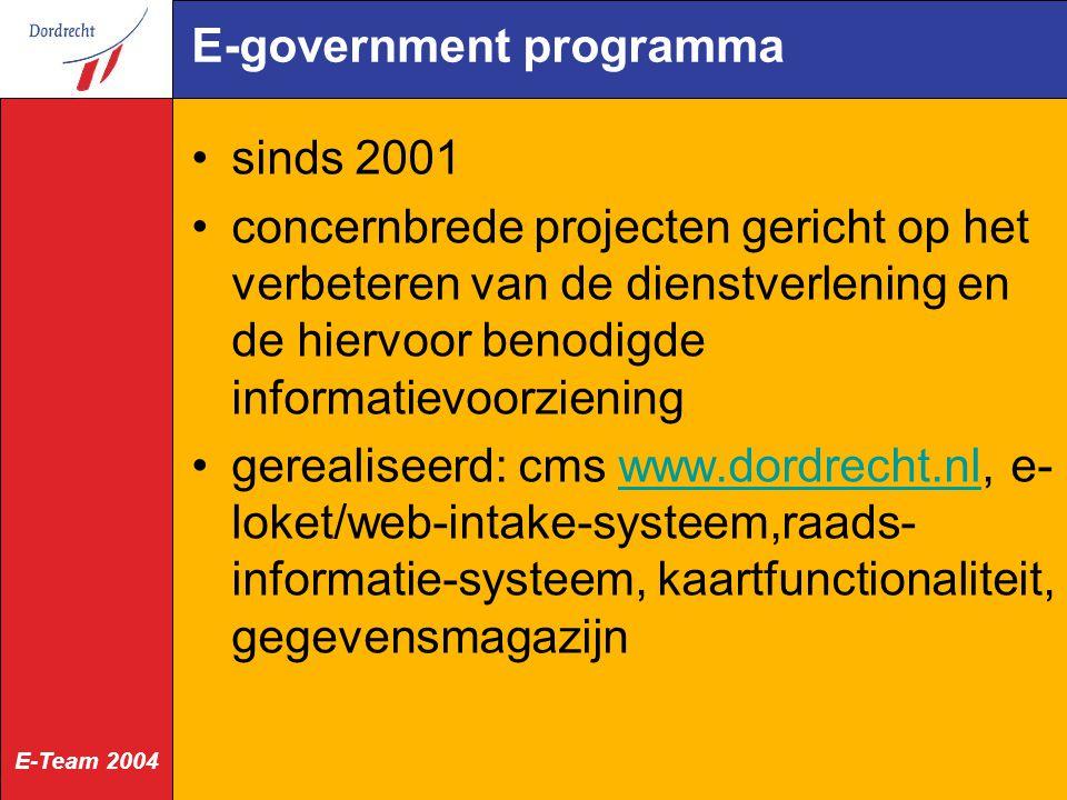 E-Team 2004 E-government programma sinds 2001 concernbrede projecten gericht op het verbeteren van de dienstverlening en de hiervoor benodigde informatievoorziening gerealiseerd: cms www.dordrecht.nl, e- loket/web-intake-systeem,raads- informatie-systeem, kaartfunctionaliteit, gegevensmagazijnwww.dordrecht.nl