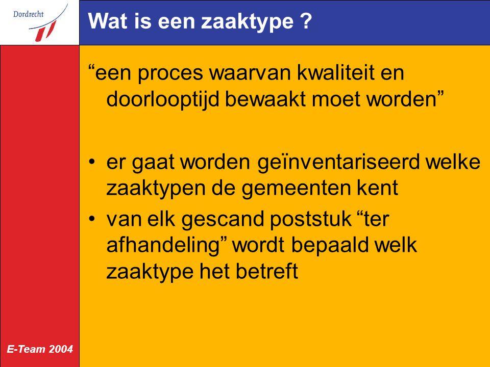 E-Team 2004 Wat is een zaaktype .