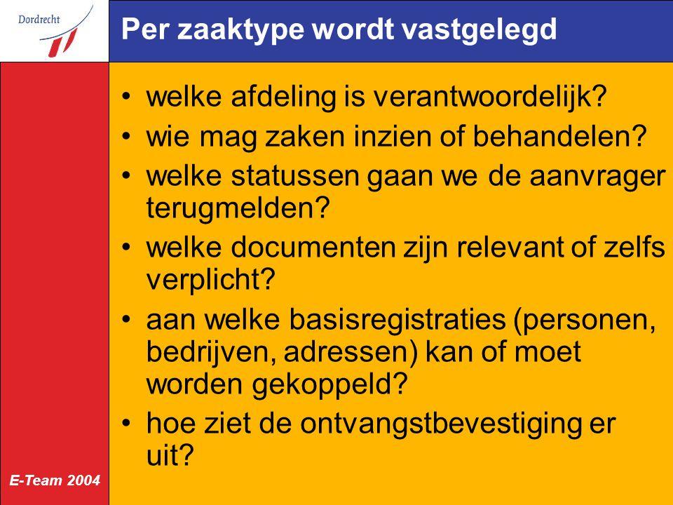 E-Team 2004 Per zaaktype wordt vastgelegd welke afdeling is verantwoordelijk? wie mag zaken inzien of behandelen? welke statussen gaan we de aanvrager