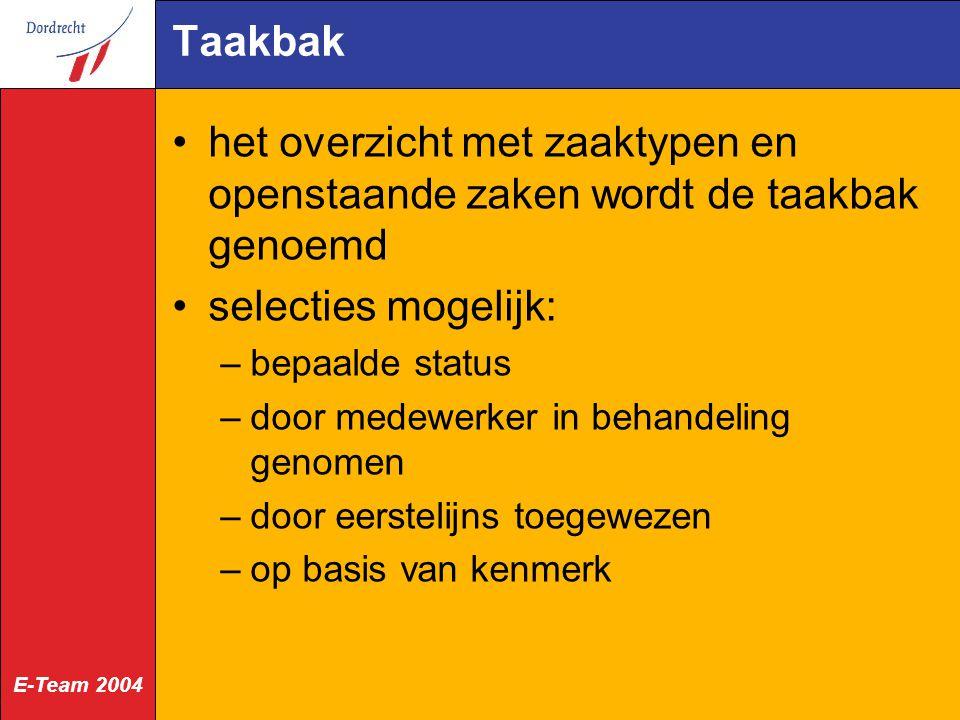 E-Team 2004 Taakbak het overzicht met zaaktypen en openstaande zaken wordt de taakbak genoemd selecties mogelijk: –bepaalde status –door medewerker in behandeling genomen –door eerstelijns toegewezen –op basis van kenmerk