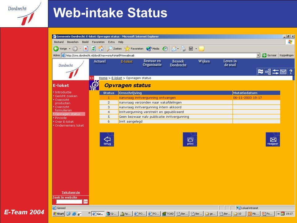 E-Team 2004 Web-intake Status