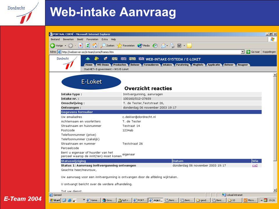 E-Team 2004 Web-intake Aanvraag
