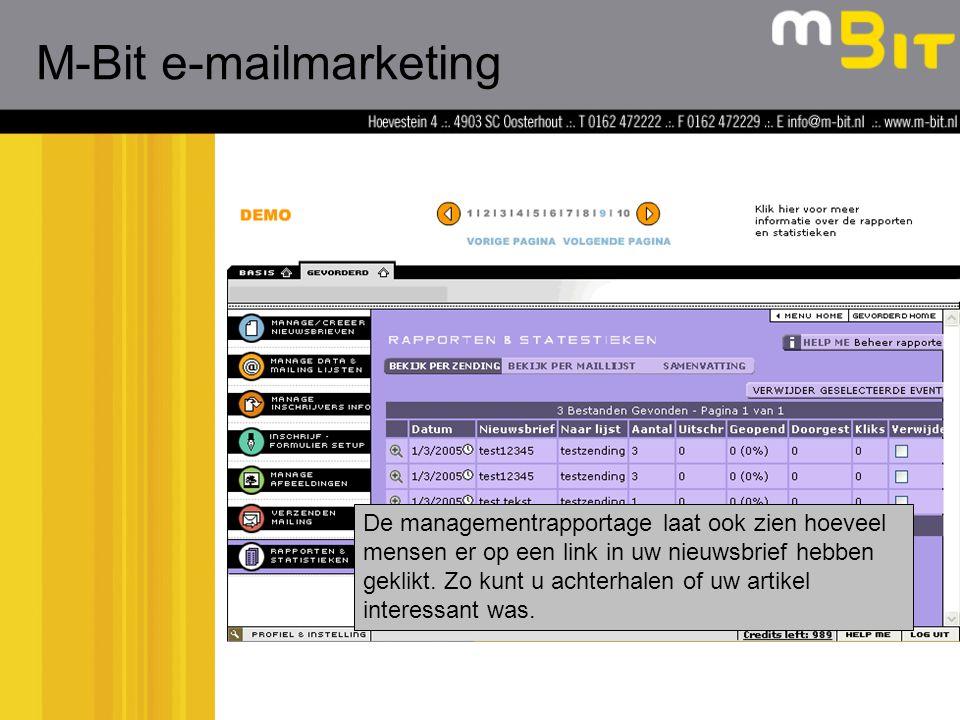De managementrapportage laat ook zien hoeveel mensen er op een link in uw nieuwsbrief hebben geklikt.