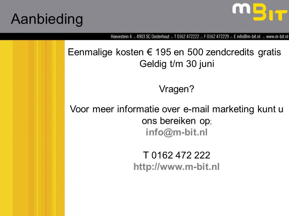 Eenmalige kosten € 195 en 500 zendcredits gratis Geldig t/m 30 juni Aanbieding Vragen.
