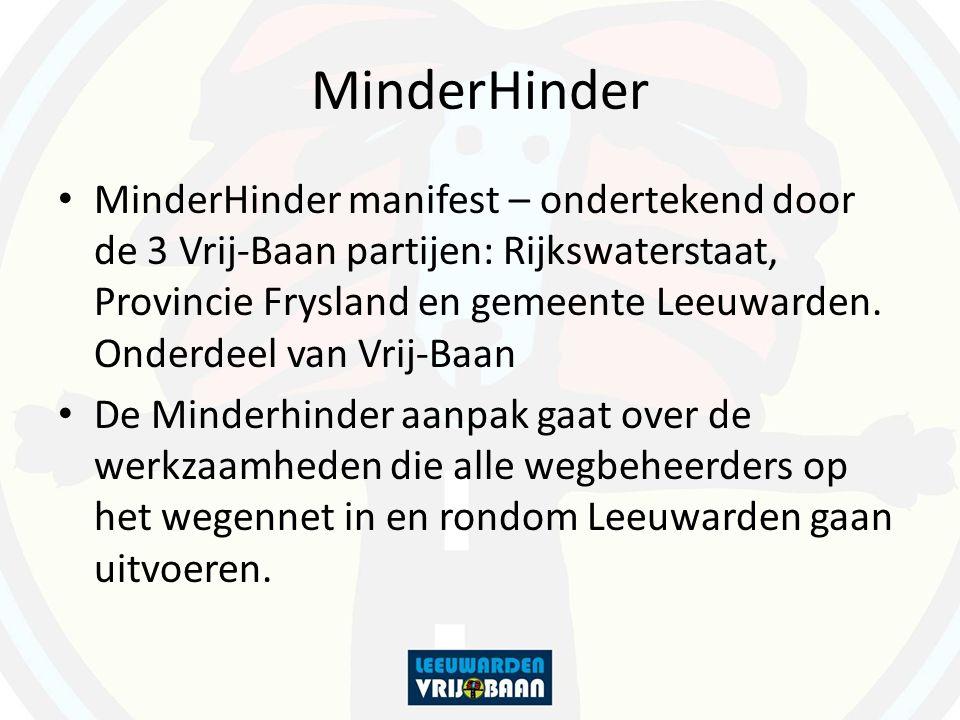 MinderHinder MinderHinder manifest – ondertekend door de 3 Vrij-Baan partijen: Rijkswaterstaat, Provincie Frysland en gemeente Leeuwarden.