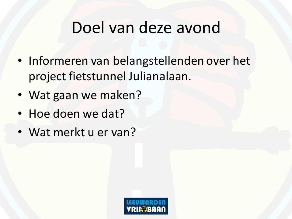 Doel van deze avond Informeren van belangstellenden over het project fietstunnel Julianalaan. Wat gaan we maken? Hoe doen we dat? Wat merkt u er van?
