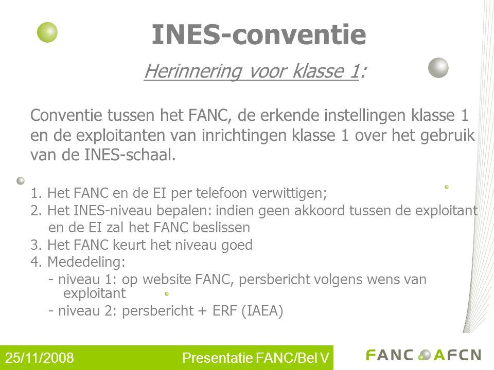25/11/2008 Presentatie FANC/Bel V INES-conventie Herinnering voor klasse 1: Conventie tussen het FANC, de erkende instellingen klasse 1 en de exploitanten van inrichtingen klasse 1 over het gebruik van de INES-schaal.
