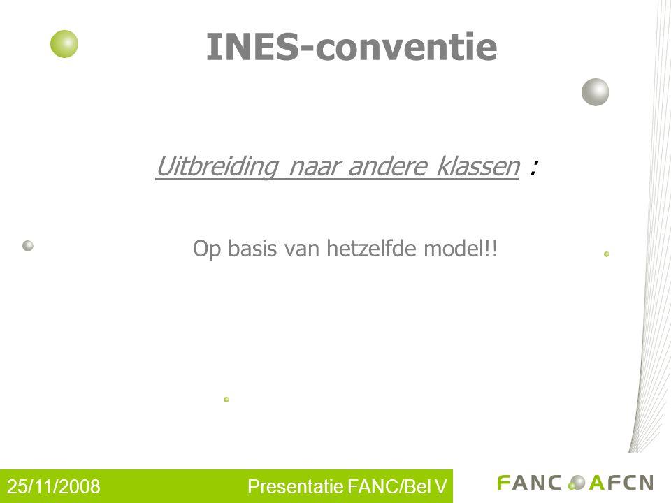25/11/2008 Presentatie FANC/Bel V INES-conventie Uitbreiding naar andere klassen : Op basis van hetzelfde model!!