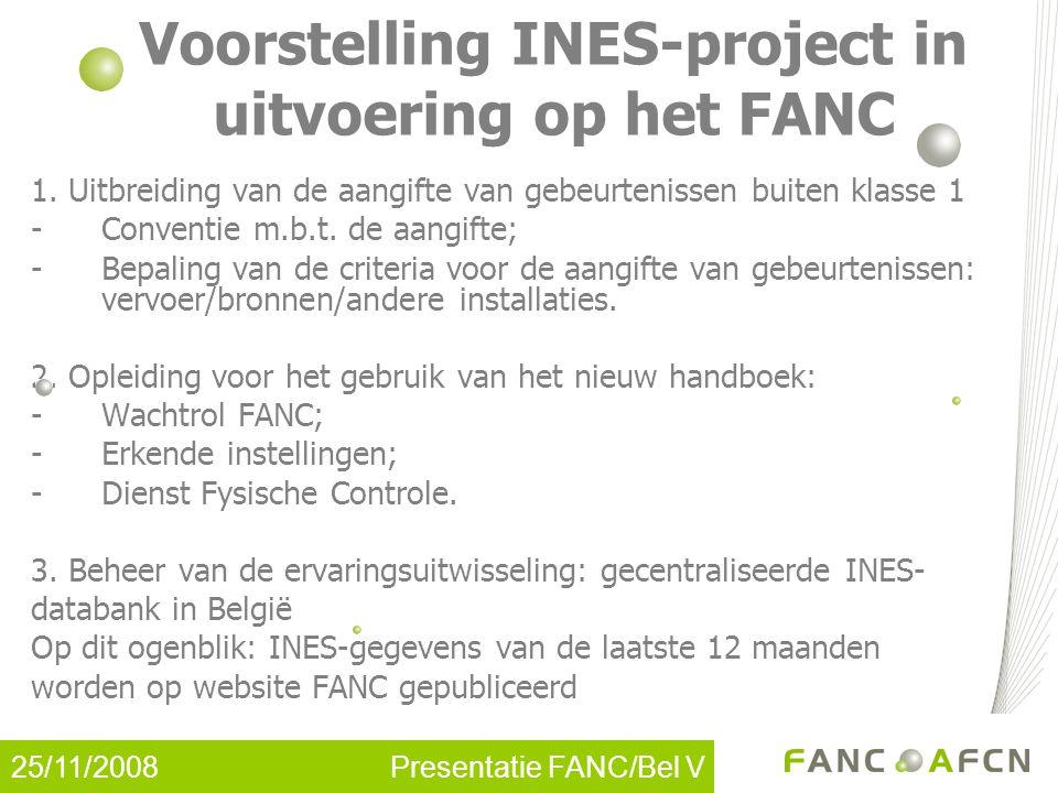 25/11/2008 Presentatie FANC/Bel V Voorstelling INES-project in uitvoering op het FANC 1.