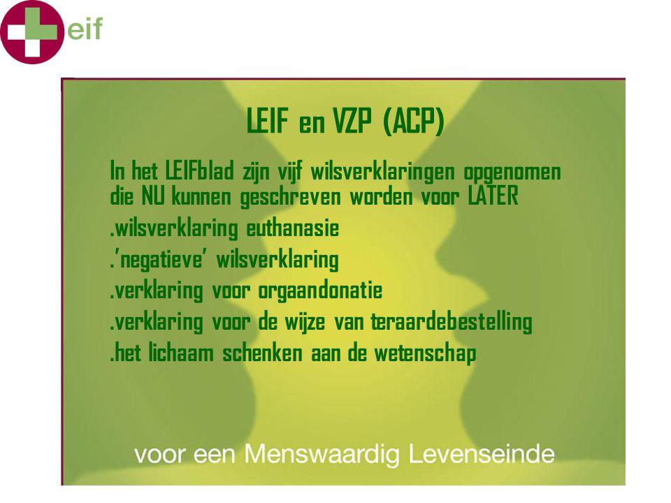 LEIF en VZP (ACP) In het LEIFblad zijn vijf wilsverklaringen opgenomen die NU kunnen geschreven worden voor LATER.wilsverklaring euthanasie.'negatieve