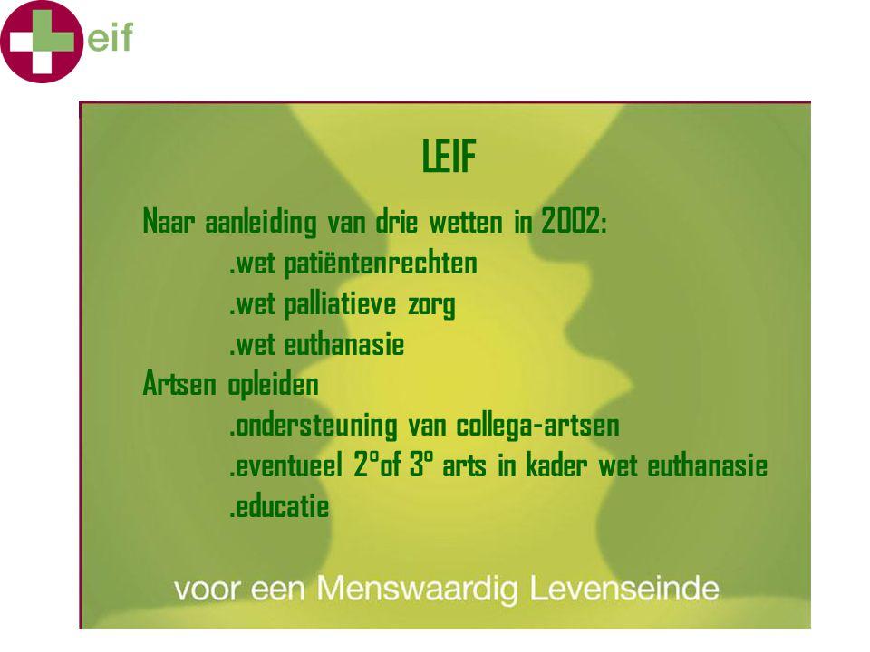 LEIF en de samenleving LEIF werkt emancipatorisch.de praktijk op het veld wordt in kaart gebracht : hiaten in de wetgeving, voorstellen tot verfijning.via het netwerk van personen die een LEIFopleiding hebben gevolgd en de eigen staf wordt tegemoet gekomen aan info-vragen van de bevolking.ondersteuning en info aan beleidspersonen.wetenschappelijk onderzoek