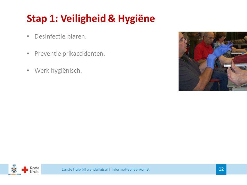 Stap 1: Veiligheid & Hygiëne Desinfectie blaren. Preventie prikaccidenten. Werk hygiënisch. Eerste Hulp bij wandelletsel I Informatiebijeenkomst 12