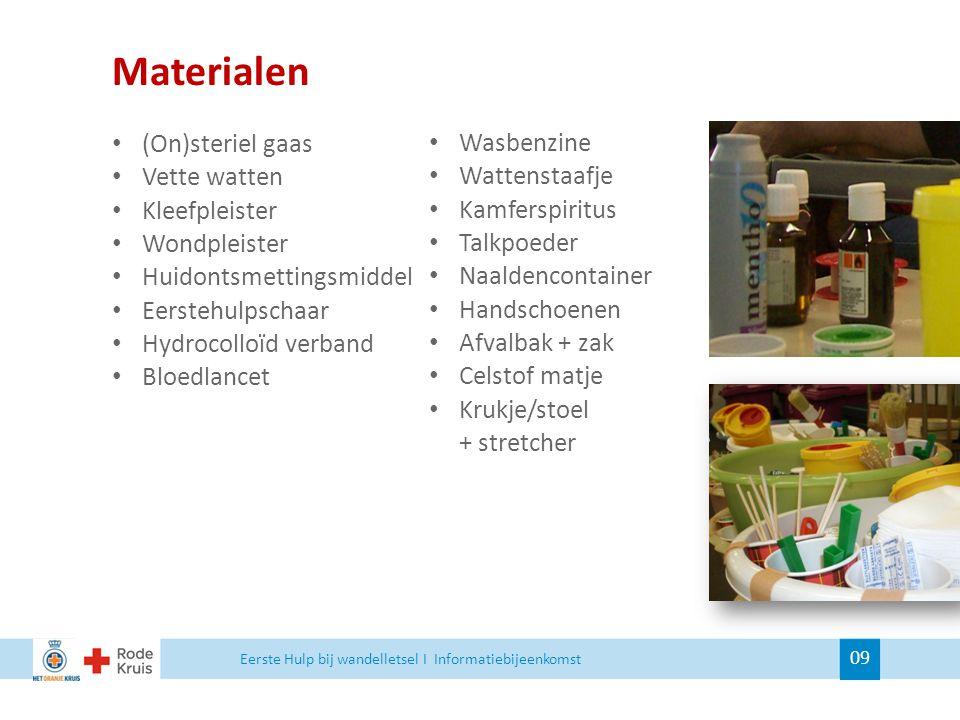 Materialen (On)steriel gaas Vette watten Kleefpleister Wondpleister Huidontsmettingsmiddel Eerstehulpschaar Hydrocolloïd verband Bloedlancet Wasbenzin