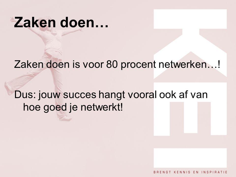 Zaken doen… Zaken doen is voor 80 procent netwerken…! Dus: jouw succes hangt vooral ook af van hoe goed je netwerkt!